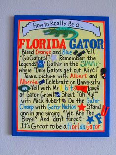 How to Really be a Florida Gator Canvas by jzoet on Etsy, $40.00