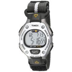Timex Men's T5F251 Ironman Traditional 30-Lap Silver--Tone/Black Fast Wrap Velcro Strap Watch
