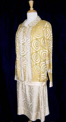 1920s gold and cream pattern silk Damask dress  - Courtesy of cur.iovintage