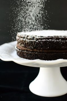 Rich, Dark Chocolate Brownie Layer Cake with Fudgy Peanut Butter Chocolate Frosting | The Well Floured Kitchen