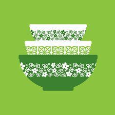 Retro Pyrex Print Spring Green by PoconoModern on Etsy, $8.00