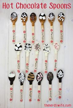 Holiday Hot Chocolate Spoons -- Hand-stamped spoons make an easy handmade gift that is perfect for teachers or neighbors. Holiday Hot Chocolate Spoons -- Hand-stamped spoons make an easy handmade gift that is perfect for teachers or neighbors. Christmas Goodies, Christmas Fun, Holiday Fun, Xmas, Food Gifts For Christmas, Gift Wrapping Ideas For Christmas Unique, Diy Christmas Food Gifts, Christmas Sprinkles, Christmas Party Favors