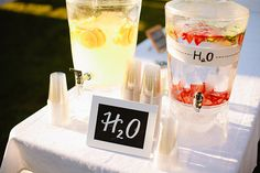 Flavored waters for an outdoor wedding...I think this will be a MUST in July!