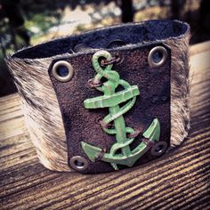This piece is SO damn cool - I'm seriously tempted to keep it - so if you like it, buy it before I change my my mind!!! Giant Verdigris Anchor on MultiGray Color Cowhide Cuff on Etsy, $175.00