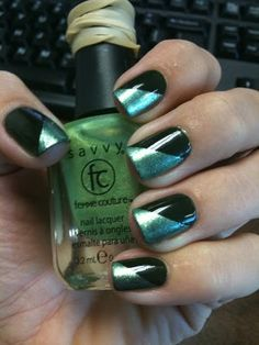 "Saint Patricks Day Nails...I'd do my ""Moss"" (which looks silvery) and a dark green and put a light green shamrock on accent nail"