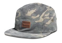 Unisex Washed Camo Five Panel Hat