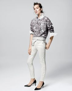 AUG '14 Style Guide: J.Crew women's toile sweatshirt and sateen toothpick pants.