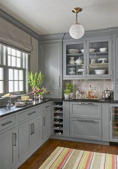 Nice 52 cozy color kitchen cabinet decor ideas black kitchen countertops, g Black Kitchen Countertops, Kitchen Cabinets Decor, Kitchen Cabinet Colors, Cabinet Decor, Grey Cabinets, Painting Kitchen Cabinets, Kitchen Colors, Cabinet Ideas, Cabinet Makeover