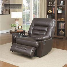 Dark Brown Recliner Massager Cup Holder USB Charging Port Memory Foam Lazy Boy Chair Reclining Seat