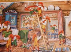 Here is a vintage print. It was printed in Sweden. The artist is Curt Nystrom. It is a scene of elves or nomes getting ready for Christmas. It would look