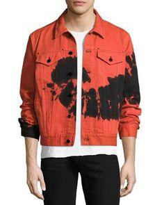 Designer Clothes, Shoes & Bags for Women Tie Dye Fashion, Denim Fashion, Fashion Hub, Jean Jacket Design, Red Denim Jacket, Denim Dye, Battle Jacket, Cotton Jacket, Red Black