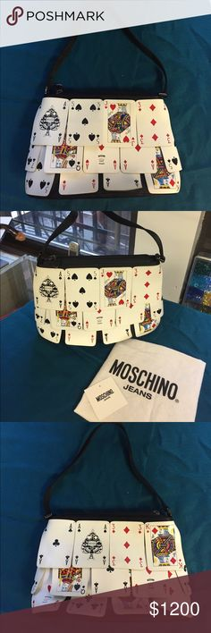 """Moschino Vintage Playing Cards Bag Moschino Vintage playing cards small bag. Material: soft black satin overlaid with 26 Moschino Cards. Handle length: 8"""". Measurements: 10""""/7""""/2,5"""" comes with original dust bag. Condition : new Moschino Bags Mini Bags"""