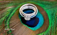 Pinnacle Country Club Wedding Photographer | Peacock feather ring shot | Peacock feather wedding details
