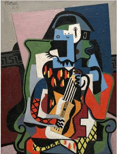 Joseph Abhar- Picasso (1881-1973) Harlequin Musician 1924 Pablo Picasso More Pins Like This At FOSTERGINGER @ Pinterest 