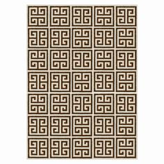 Brown Greek Key Peruvian Llama Flat Weave Rug
