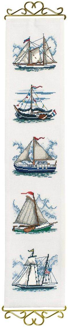 New Needlework Schooner Bellpull, counted cross-stitch. I love anything with ships or the sea, and lighthouses! I love anything with ships or the sea, and lighthouses! Needlepoint Patterns, Counted Cross Stitch Patterns, Cross Stitch Designs, Cross Stitch Embroidery, Embroidery Patterns, Hand Embroidery, Hardanger Embroidery, Loom Patterns, Cross Stitch Sea