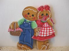 HP Gingerbread Summer picnic watermelon Shelf Sitter hand painted