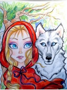 Little Red Riding Hood and the Wolf Fairytale Big Eye Art Print