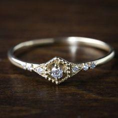 Sechseck-Diamant-Verlobungsring, Diamant-2mm 14 Karat gold - Altrnative antike zierliche Verlobungsring, gelbe rose weiß-gold