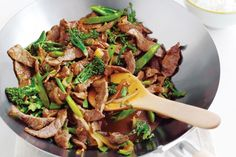garlic beef with broccolini (serve without rice for high protein)