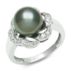 Tahitian Black Pearl & Cubic Zirconian Engagement Ring - Here's a stunning Tahitian Black Pearl & Cubic Zirconian Engagement Ring stamped in 925 Sterling Silver featuring a Mystic Topaz colored Pearl at the top of the ring surrounded by additional White Round Brilliant accent side stones on the swirl style shank. The Cubic Zirconia & Tahitian Pearl ring is 10mm in diameter & it is not enhanced nor heat treated. #unusualengagementrings