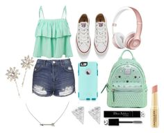 """""""Senza titolo #754"""" by itsberlin ❤ liked on Polyvore featuring LE3NO, Topshop, Converse, MCM, OtterBox, Jennifer Behr, Napoleon Perdis and Christian Dior"""