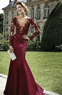 Vestidos Dark Red Evening Dresses 2015 Burgundy Long Sleeves Lace beads Mermaid Prom Dress Deep V Neck Mermaid Formal Gown v11
