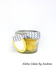 Bridal Shower Favor, Wedding Jar, Mason Jar Wedding Favor, Baby Shower Favor, Set of 4, Yellow and Gray