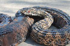 Scrap Metal Sculpture - Snake - Adder - OOAK - Original Artwork with Recycled Materials - Large Sculpture