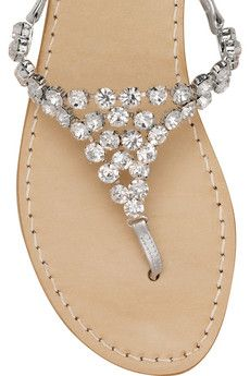 Crystal studded leather sandals <3
