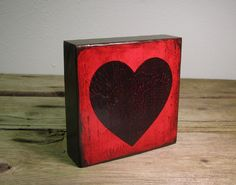 Art Block PaintingRed and Black HeartValentines by MatchBlox, $25.00