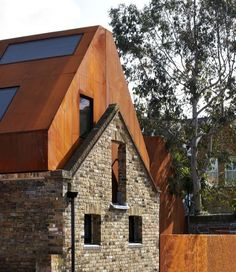 Kew House, Jack Hobhouse, I love the perforated weathering steel cladding and the old brick work. Architecture Renovation, Architecture Old, Residential Architecture, Contemporary Architecture, Building Facade, Building A House, Building Homes, Habitat Collectif, Steel Cladding