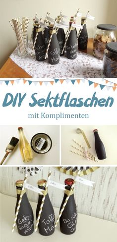 DIY-Anleitung für Sektflaschen im Tafellook, die mit Kreide mit Komplimenten be. DIY instruction for champagne bottles in blackboard look, which are labeled with chalk with compliments. A nice idea for the wedding or the JGA. Wedding Trends, Diy Wedding, Wedding Gifts, Table Wedding, Wedding Makeup, Wedding Venues, Diy Pinterest, Champagne Bottles, Boho Diy