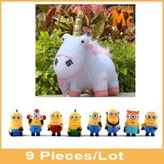 """Find More Movies & TV Information about 9 PCS/Set Baby Toy Mini Cute Yellow Minions PVC Action Figure+ Despicable Me Unicorn Stuffed Plush Doll Approx 20cm/8"""",High Quality doll clay,China doll plush toy Suppliers, Cheap toy cell phone for kids from Toys in the Kingdom on Aliexpress.com"""