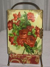 Victorian Celluloid Photo Album Covered in Red Roses with Separate Stand from Victorian Dreams on Ruby Lane