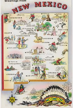 Vintage Postcard - States Maps USA - Postcard Map - New Mexico