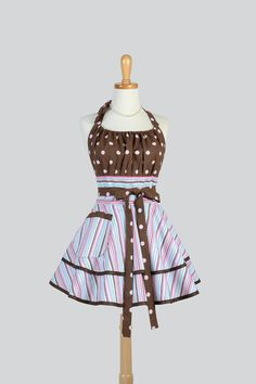 Etsy listing at https://www.etsy.com/listing/185037365/flirty-chic-apron-brown-pink-dots-and
