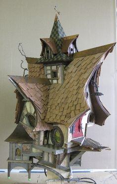 Whimsical one of a kind birdhouses and fairy houses Wooden Bird Houses, Bird Houses Diy, Fairy Garden Houses, Play Houses, Bird House Feeder, Bird Feeders, Fantasy House, Bird Boxes, Miniature Houses