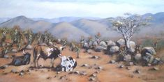 Oil Painting of Nkandla Landscape with Aloes and Nguni Cattle. Oil on Stretched Canvas. Stretched Canvas, Art Oil, Cattle, Acrylics, Africa, Landscape, Painting, Inspiration, Gado Gado