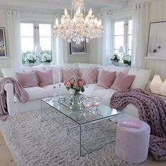 39 Beautiful Romantic Living Room Decor Ideas - Living-room is the most important and most spacious room at home, it welcomes guests, it reflects our way of life, so it should be exclusively maintai. Romantic Living Room, Glam Living Room, Living Room Decor Cozy, Home And Living, Living Room Furniture, Modern Living, Fancy Living Rooms, Modern Furniture, Glamorous Living Rooms