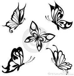 Set Black White Butterflies Of A Tattoo Stock Image - Image: 17840091