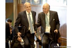 FINA head Julio Maglione (left) and Mario Pescante of the Italian Olympic Committee at the IOC Session Aug. 3 (ATR)