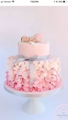 Pink ruffle baby shower cake - by Sugar Dreams Torta Baby Shower, Tortas Baby Shower Niña, Girl Shower Cake, Baby Shower Pasta, Baby Shower Cake For Girls, Cakes For Baby Showers, Amazing Baby Shower Cakes, Christening Cake Girls, Girl Baptism Cakes