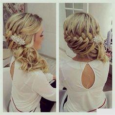 Wedding hair, bridesmaid hair, hair do Wedding Hairstyles For Women, Homecoming Hairstyles, Up Hairstyles, Pretty Hairstyles, Braided Hairstyles, Hairstyle Ideas, Bridal Hairstyle, Braided Updo, Country Wedding Hairstyles