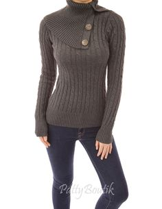 Turtleneck Cable Knit Sweater - PattyBoutik - EXTREME COLLAR