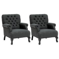 set of tufted arm chairs