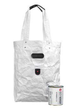 BUSY MONDAY LAB / SURVIVAL KIT - basic Tyvek® bag in a can // Large sized bag, made of thick Tyvek® with strengthening rubber details on handles. Packed in branded can (sealed). With every order we provide free unpacked sample for a display.