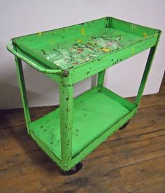 Bar Cart Bright Green Steampunk Metal Industrial Cart Shabby Paint Utility Cart Serving Cart Kitchen Cart INV 12 on Etsy, $95.00