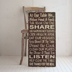 Kitchen Table Manners Family Rules Distressed by SignsofVintage, $100.00