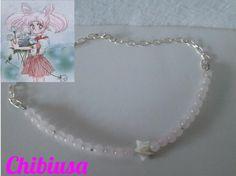 Chibi Moon Gargantilla de cuarzo rosa, con estrella de nácar. http://tienda-mermaidtearsshop.rhcloud.com/es/gargantillas/68-sailor-moon-inspiration.html